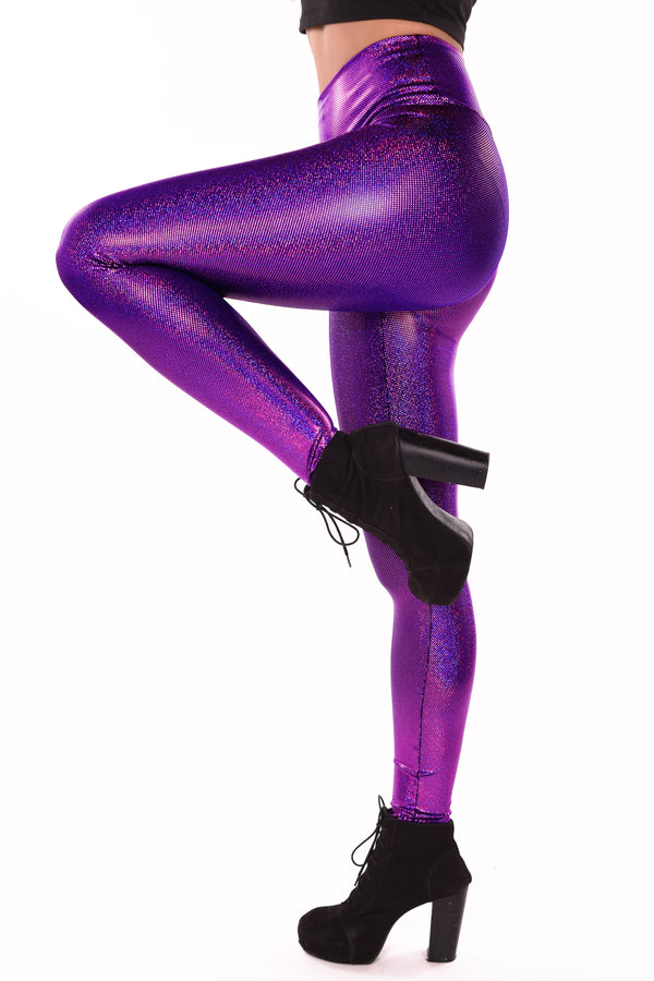 Holographic Purple Leggings: Women's Iridescent Amethyst Purple Disco Wide Waistband Leggings