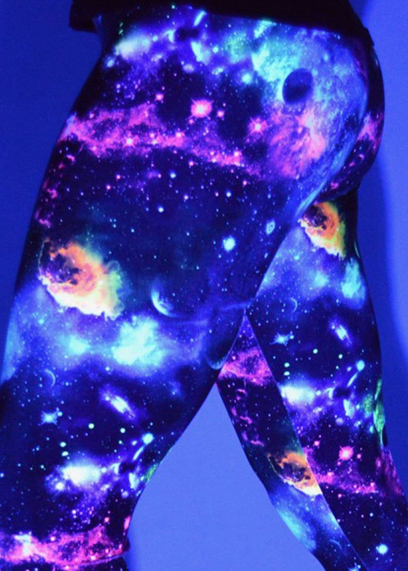 Women's Galactic Gal Outer Space Leggings:  UV & Black Light Reactive