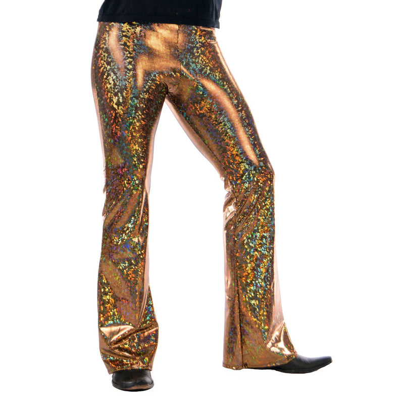 Disco Gold: Holographic Golden Mens Flares - 70's Mens Bell Bottoms