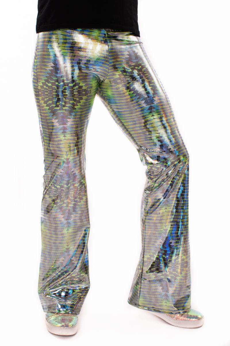 Dazzle Green: UV Blacklight Reactive Men's Holographic Flared Pants - Trippy Tribal Print Bell Bottoms