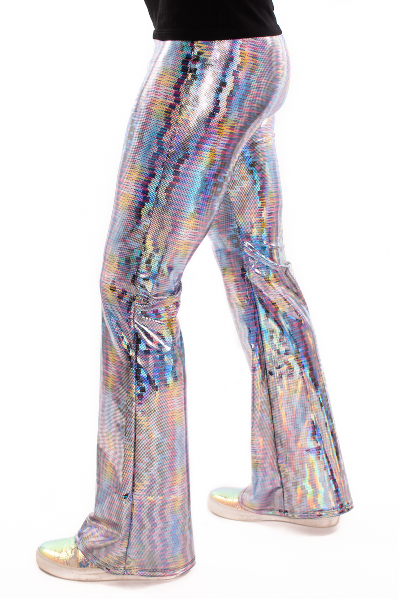 Dazzle Blue: UV Blacklight Reactive Men's Holographic Flared Pants - Trippy Bell Bottoms