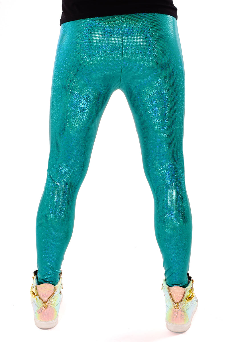 Holographic Teal Meggings: Men's Disco Leggings - Festival Clothing For Men
