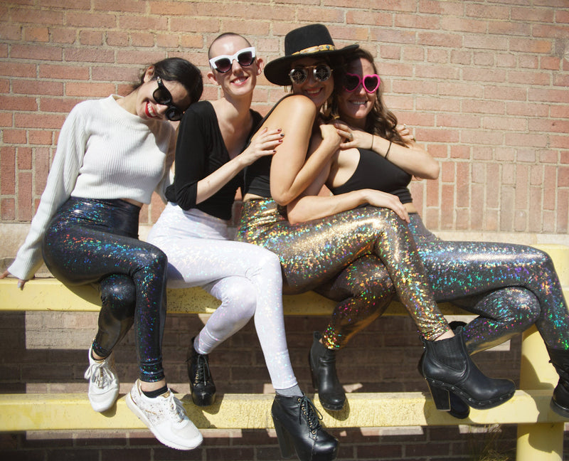 Women's Black Dancing Disco Leggings: Holographic