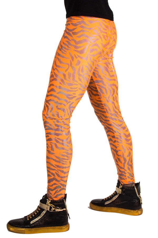 Neon Tiger Orange: Animal Print Meggings - UV Blacklight Reactive Mens Leggings