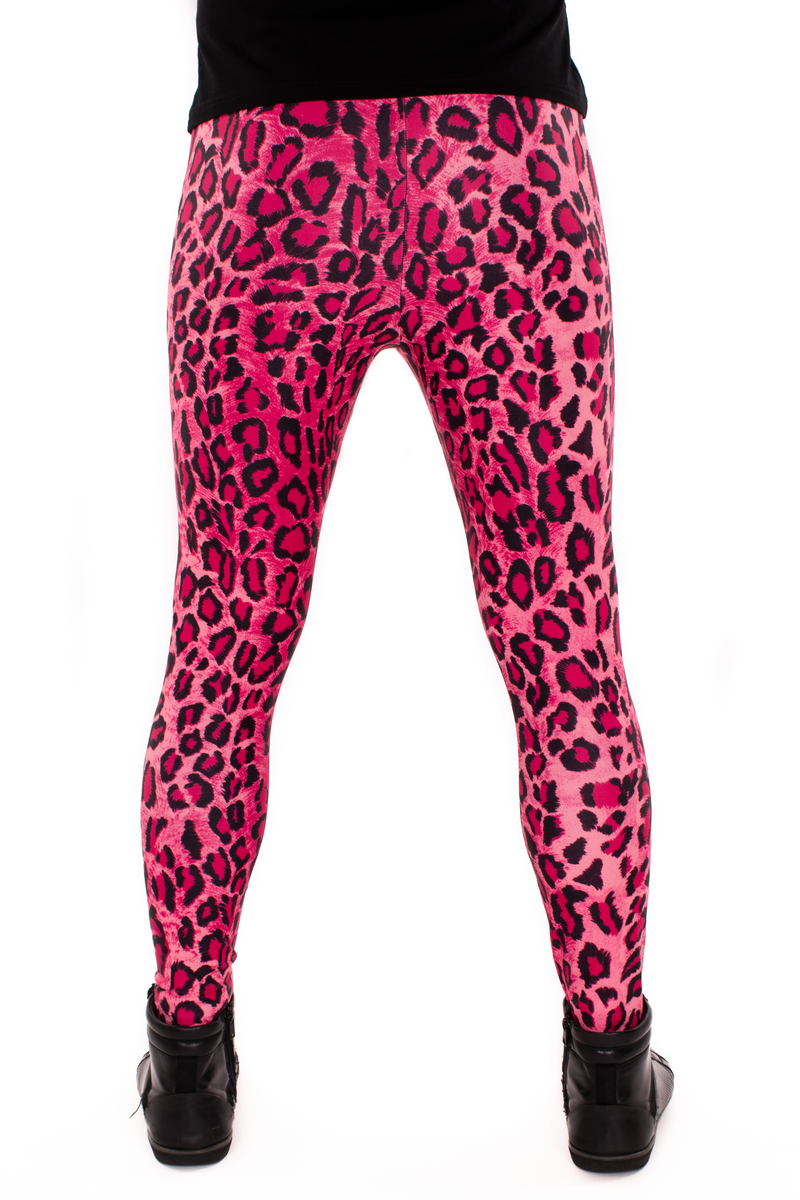 Leopard Pink Animal Print Meggings - Mens Party Leggings