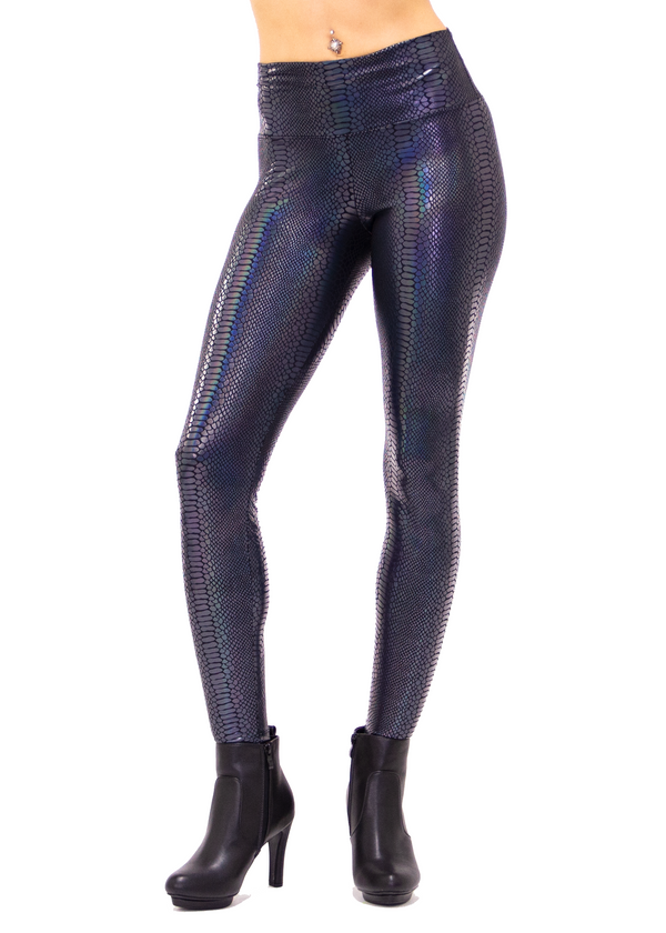 Black Holographic Snake Print Leggings - Women's Snake Skin Leggings