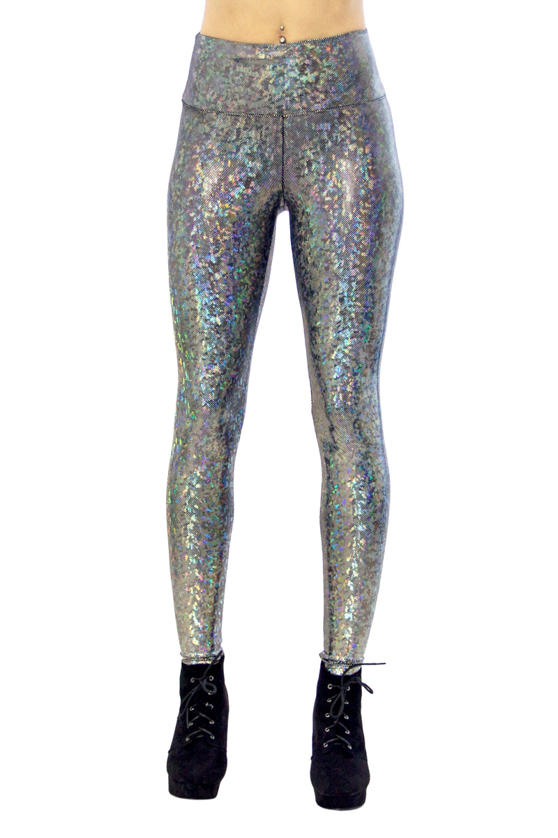 Women's Dimensional Disco Holographic Silver Leggings