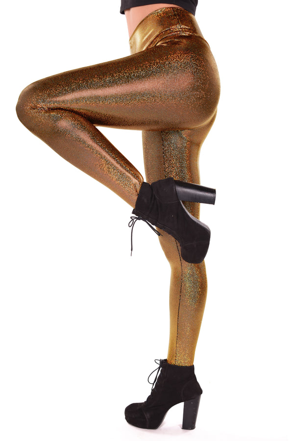 Holographic Gold Leggings: Women's Iridescent Golden Disco Wide Waistband Leggings