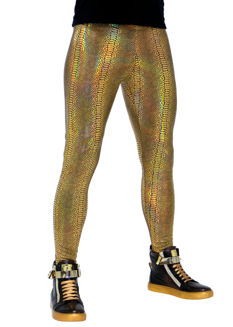 Snake Holographic Gold: Iridescent Golden Snake Skin Meggings - Men's Leggings & Rave Gear