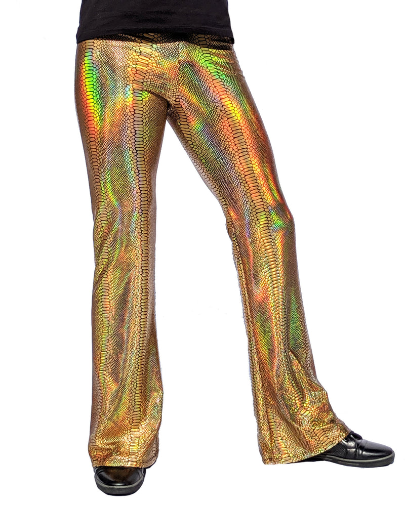 Holographic Snake Gold: Mens Flare Pants - Snake Skin Print Bell Bottoms