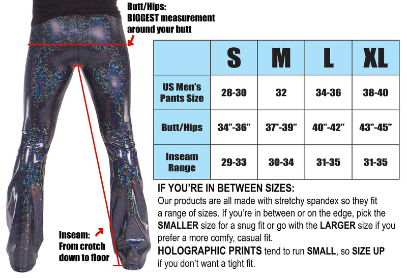 Holographic Snake Silver: Mens Flare Pants - Silver Snake Skin Print Bell Bottoms