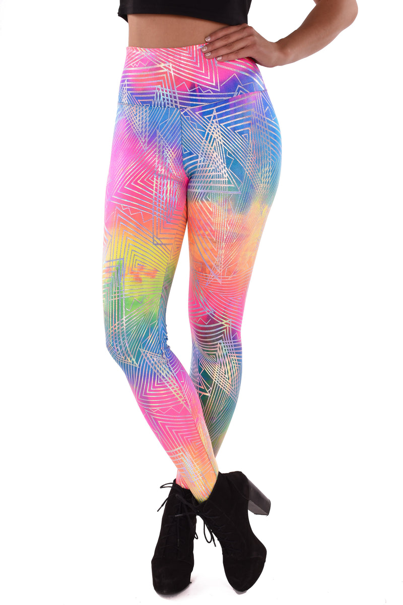 UV Reactive Holographic Rainbow Leggings - Made in the USA - Festival Clothing