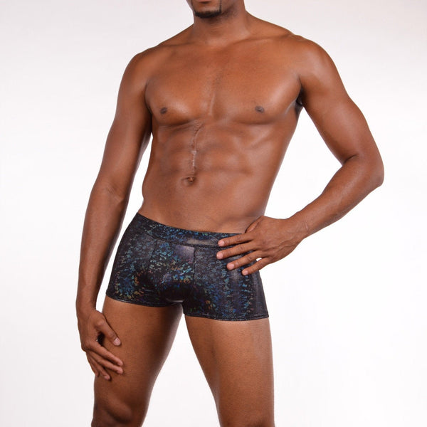 funstigators holographic black mens booty shorts featuring a front pouch and made from high quality black holographic spandex