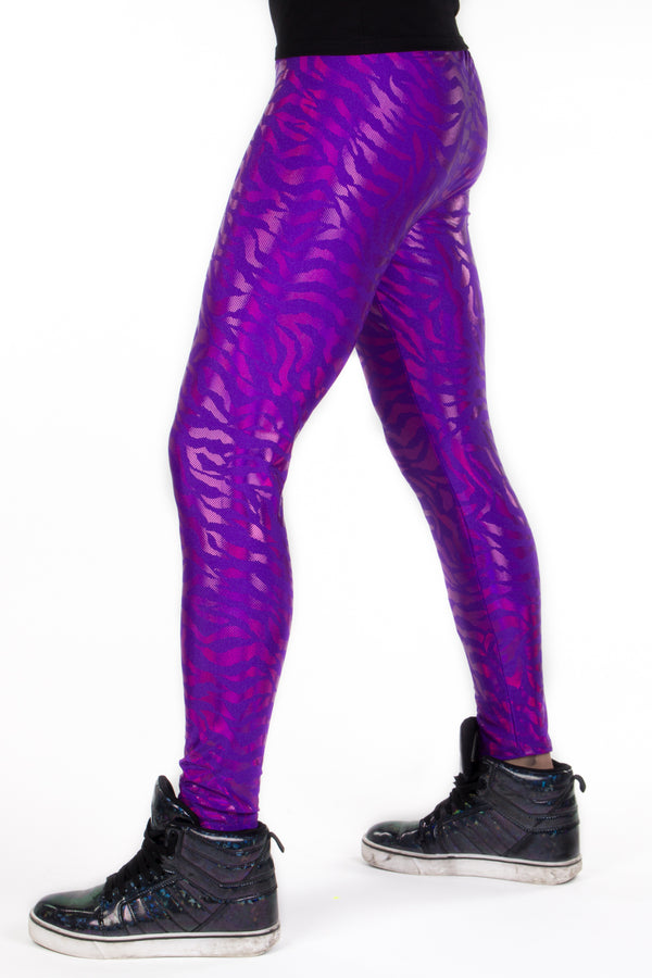 Neon Tiger Purple: Animal Print Meggings - UV Blacklight Mens Leggings