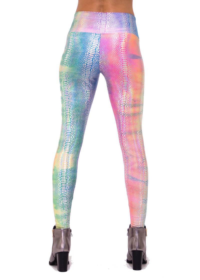 Holographic Rainbow Snake Print Women's Leggings - Rainbow UV Blacklight Reactive Leggings