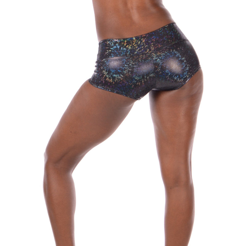 Women's Black Mamba Disco Booty Shorts: Holographic