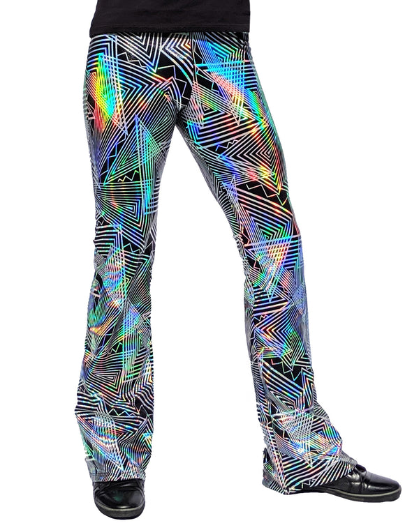 Disco Daze: Holographic Disco Flared Pants - Trippy Triangle Men's Music Festival Bell Bottoms