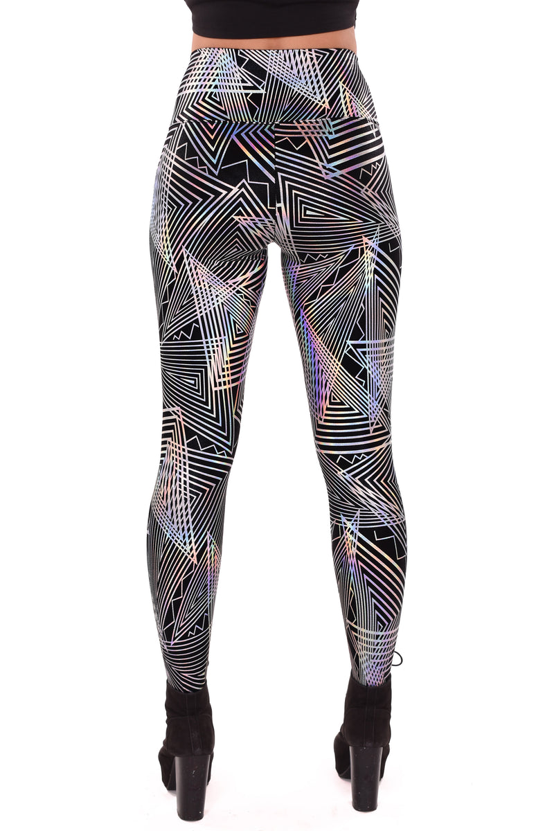 Women's Black Disco Daze Holographic Leggings
