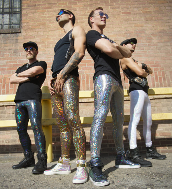 Disco White: Holographic Disco White Meggings - White Party Mens Leggings