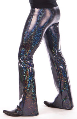 Disco Black: Holographic Black Mens Flares - 70's Mens Bell Bottoms