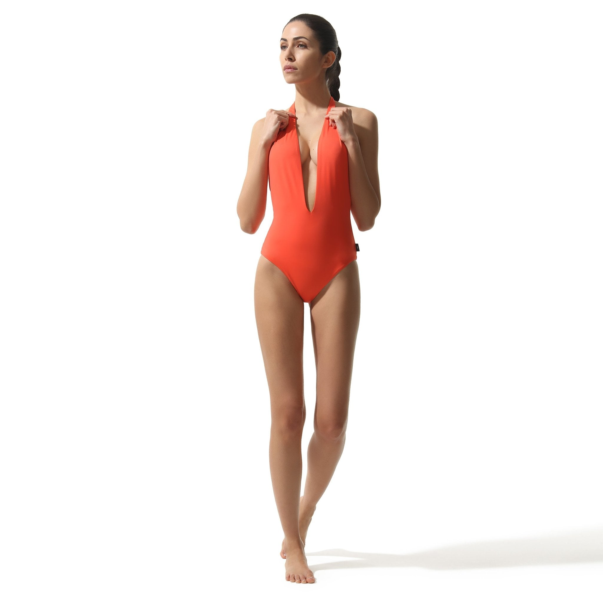 Plunge Swimsuit Coral - Onepieceswimsuit_Woman - KAMPOS