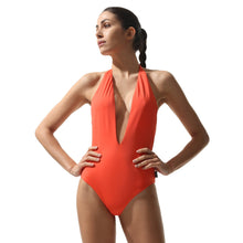 Load image into Gallery viewer, Plunge Swimsuit Coral - Onepieceswimsuit_Woman - KAMPOS