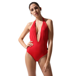Plunge Swimsuit Red Coral - Onepieceswimsuit_Woman - KAMPOS