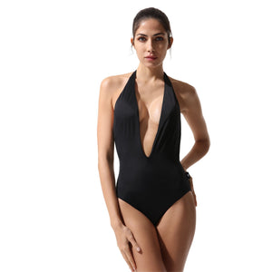 Plunge Swimsuit Squid Black - Onepieceswimsuit_Woman - KAMPOS