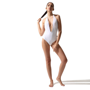 Plunge Swimsuit White - Onepieceswimsuit_Woman - KAMPOS