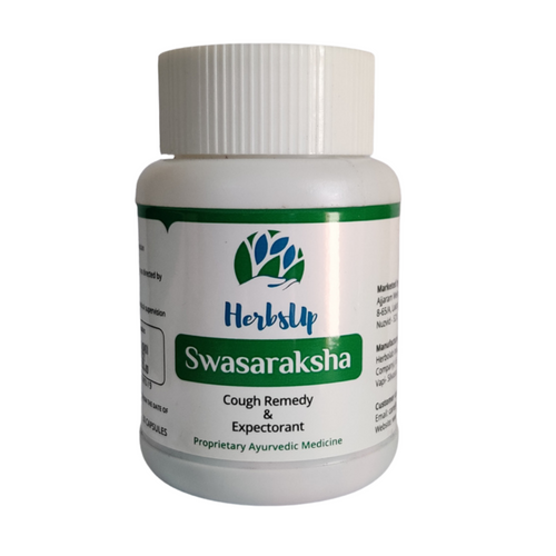 HerbsUp Swasaraksha helps in all kinds of cough - Dry Cough, Productive Cough and helps in expectoration of phlegm. It helps in respiratory wellness, thinning bronchial secretions and improving sluggish lungs.
