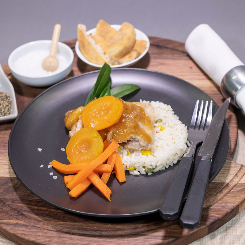 Contented Chef: Apricot Chicken Chicken with Californian rice and carrot batons