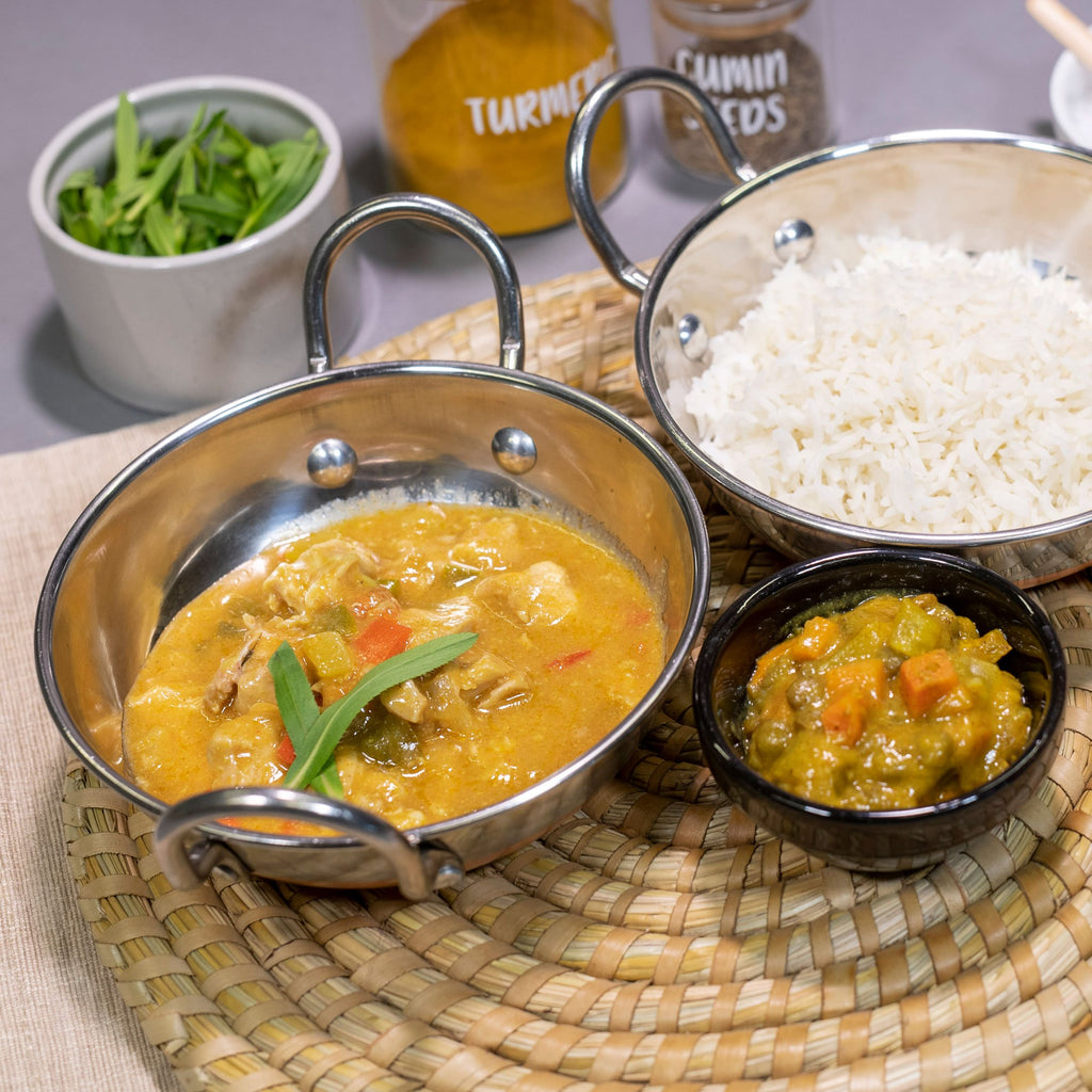 Butter Chicken by Contented Chef: Slow cooked chicken pieces in full flavoured mild creamy butter sauce, with Basmati rice