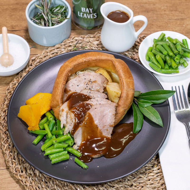 Roast Beef by Contented Chef: Served with Yorkshire pudding, our pan gravy, roast potatoes, roast pumpkin and green beans.