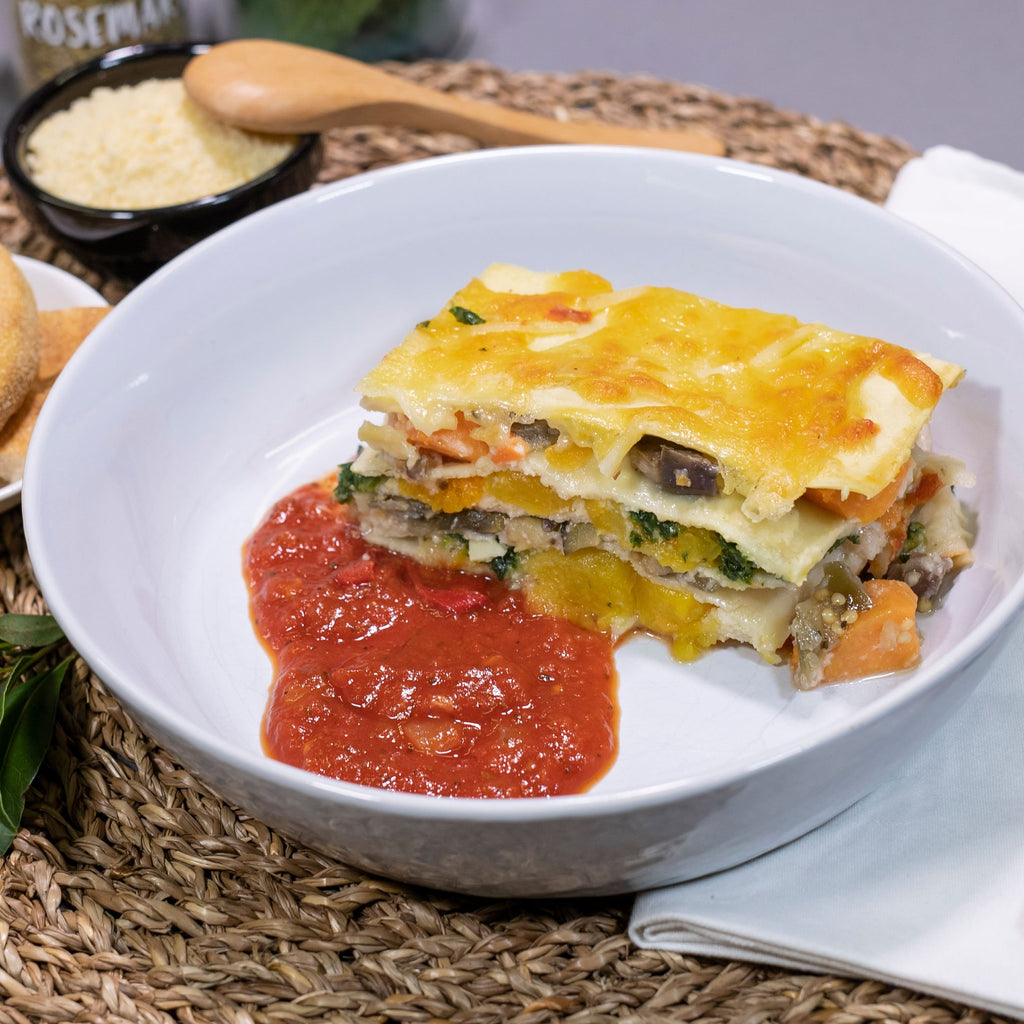 Vegetarian Lasagne, Contented Chef: Roasted Seasonal Vegetables Layered with rich tomato sauce fresh pasta sheets & bechamel sauce