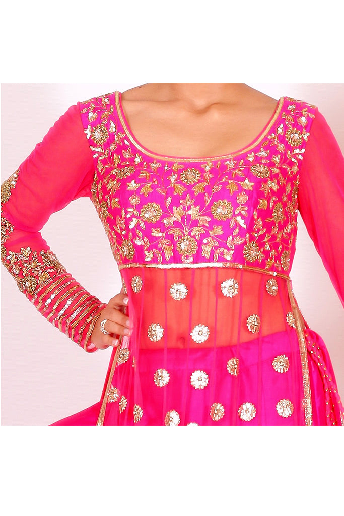 Fuschia pink Embroidered  kaalidar Set