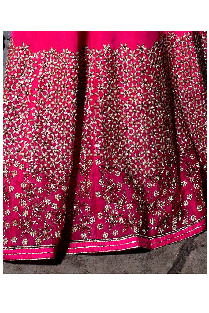 Scarlet Pink Embroidered Kaalidar Set