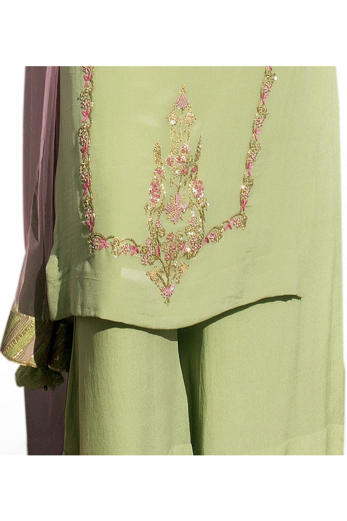 Pistachio Green Embroidered Suit With Flared Pants