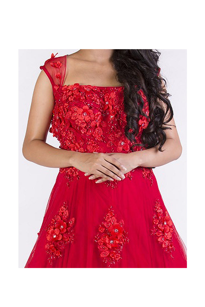 Red Floral Embroidered Gown Set
