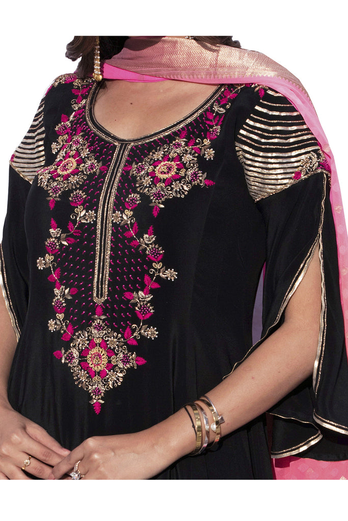 Black Embroidered Anarkali Suit With Flared Pants