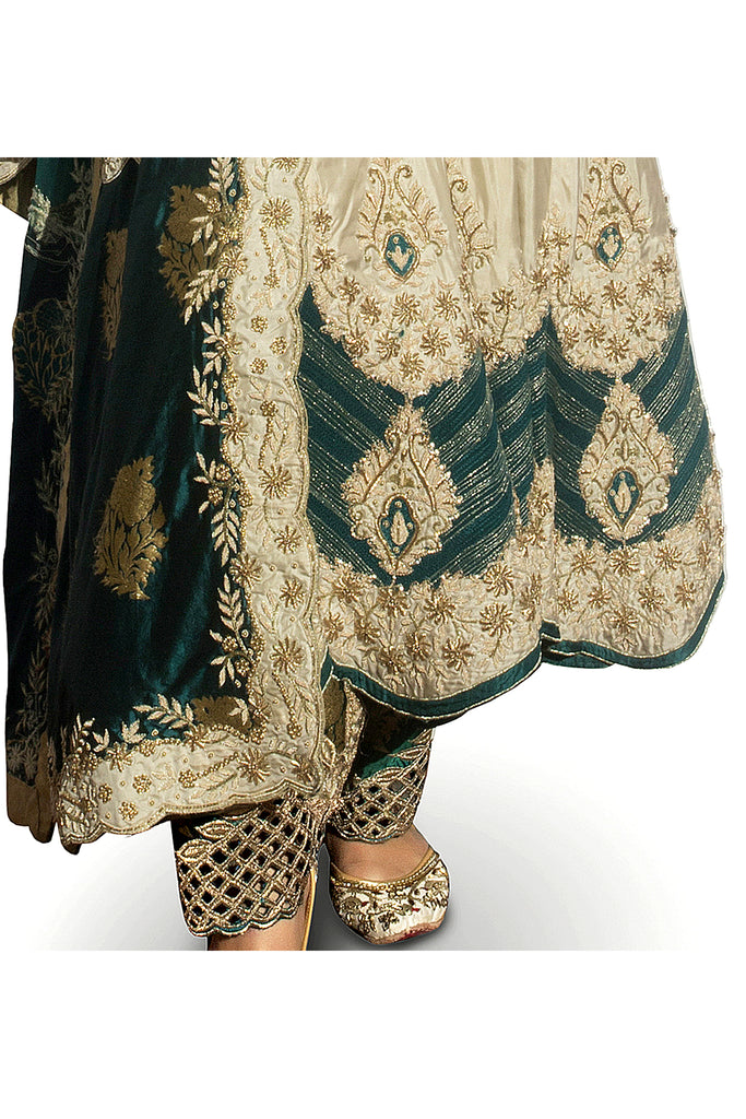 Antique Green Embroidered Kaalidar Set