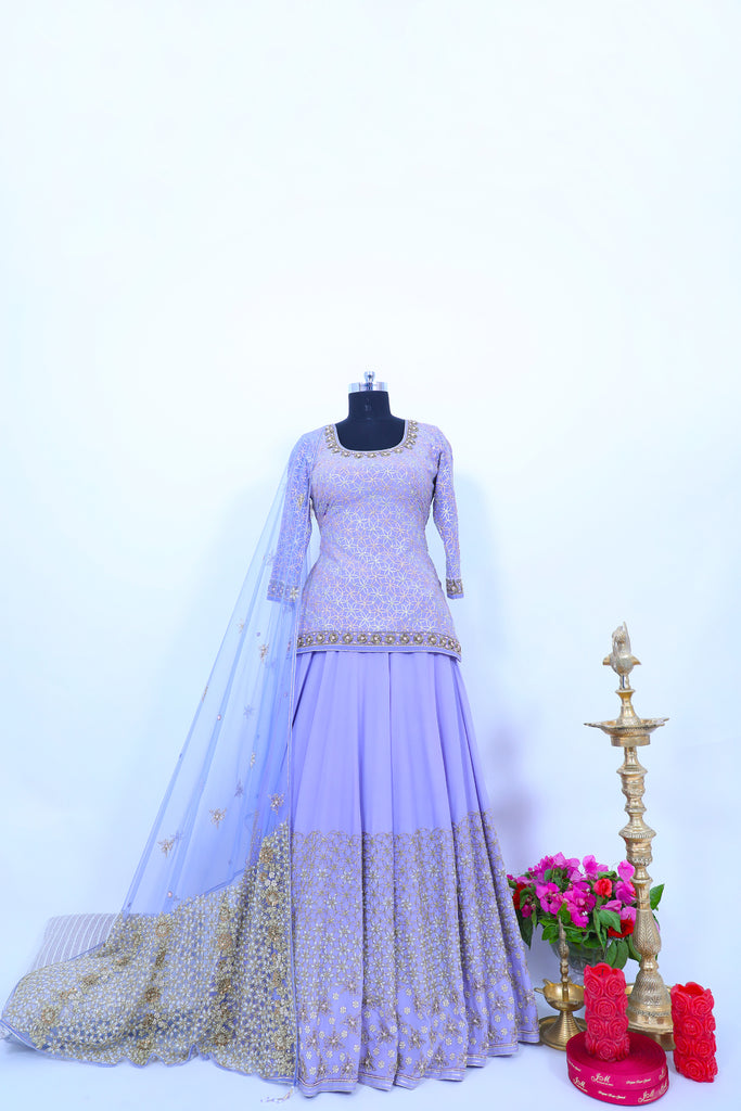 Persian Violet Embroidered Shirt With Ghagra Set