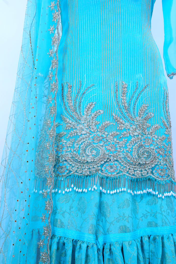 Iced Aqua Embroidered Shirt With Gharara Set