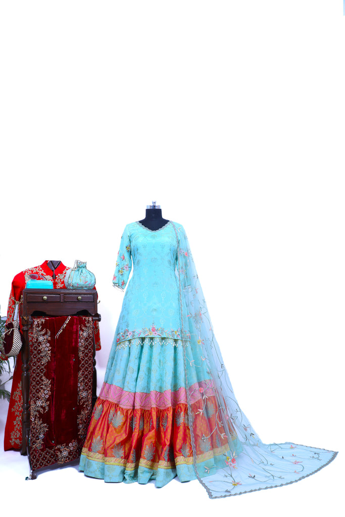 Dusty Aqua Embroidered Shirt With Ghagra Set