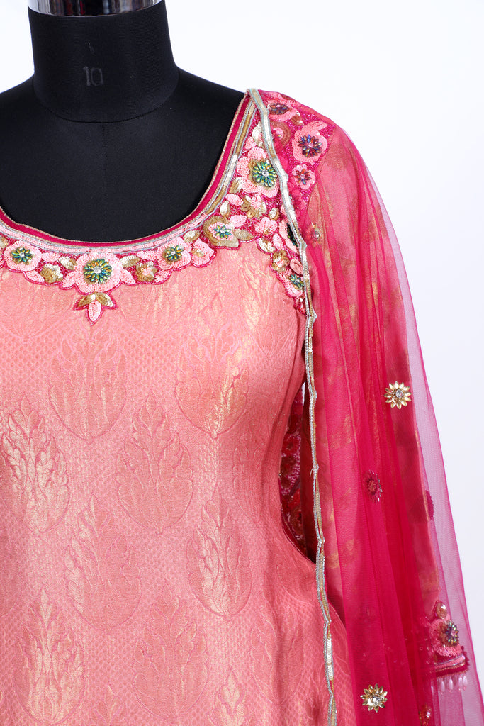 Raspberry Radiance Embroidered Shirt With Ghagra Set