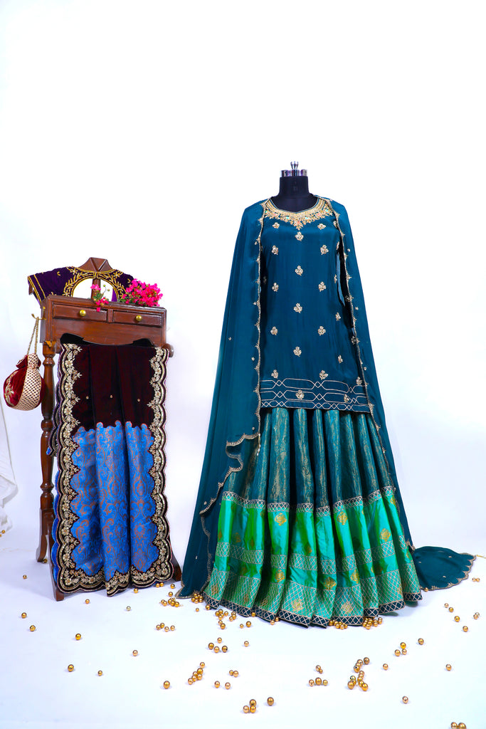 Deep Teal Embroidered Shirt With Ghagra Set