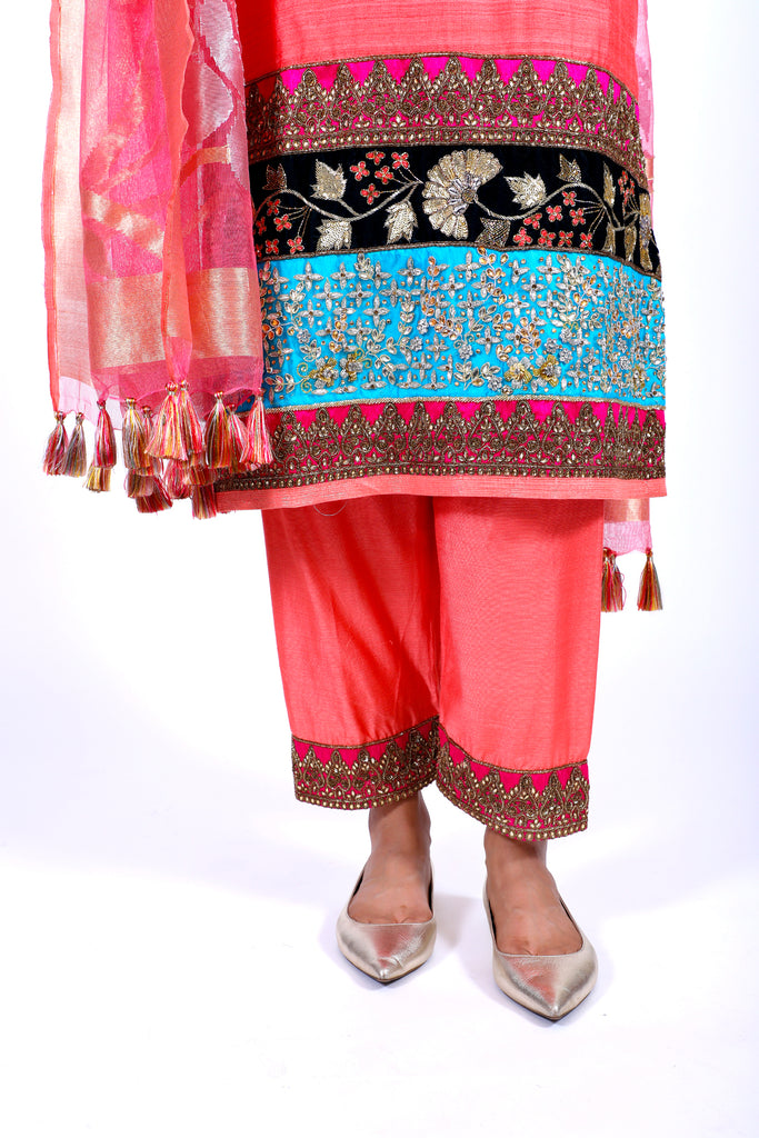 Sugar Coral Embroidered Shirt With Straight JM Salwar Set