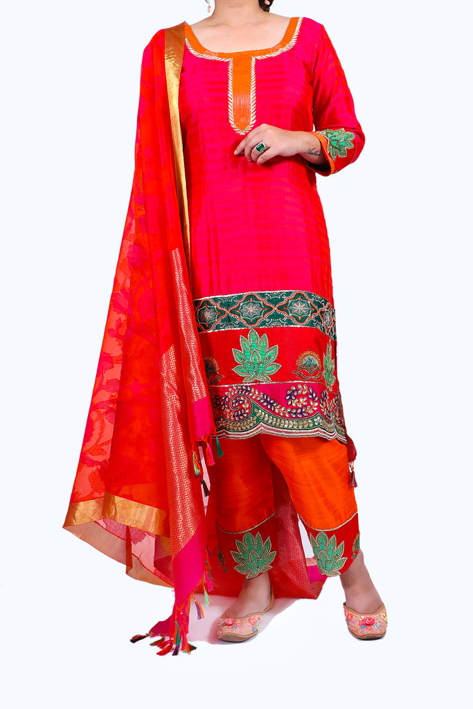 Festive Pink Embroidered Shirt With Straight JM Salwar Set