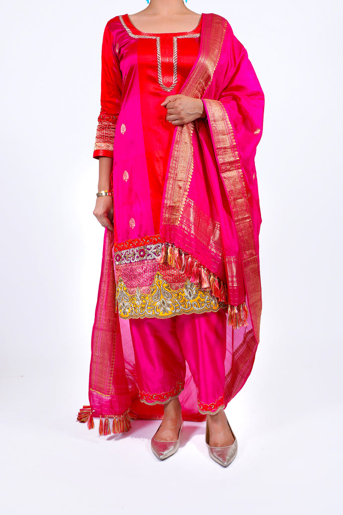 Fuchsia Purple Embroidered Shirt With Straight JM Salwar Set