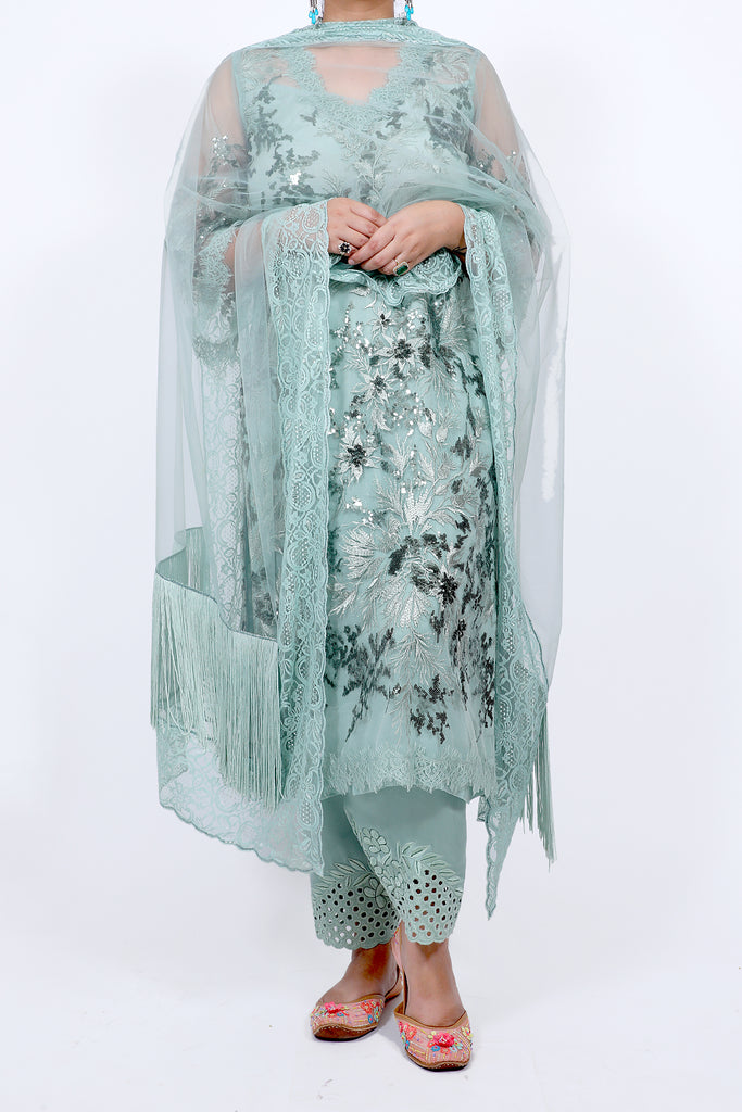Aqua Haze Embroidered Shirt With Straight JM Salwar Set