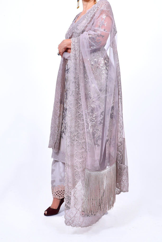 Feather Gray Embroidered Shirt With Straight JM Salwar Set